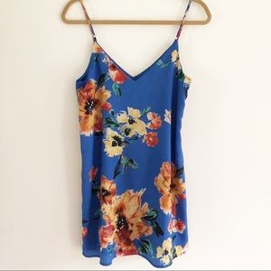 Lulus blue floral print slip on mini dress. Small
